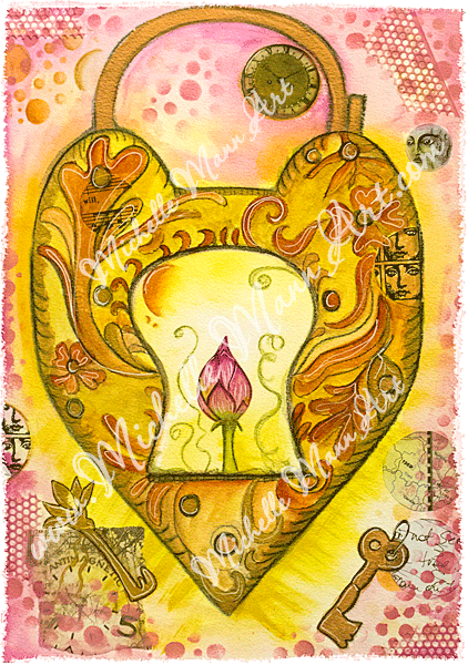 Gold Padlock by Michelle Mann copyright 2017 all rights reserved