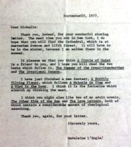 Madeleine L'Engle letter