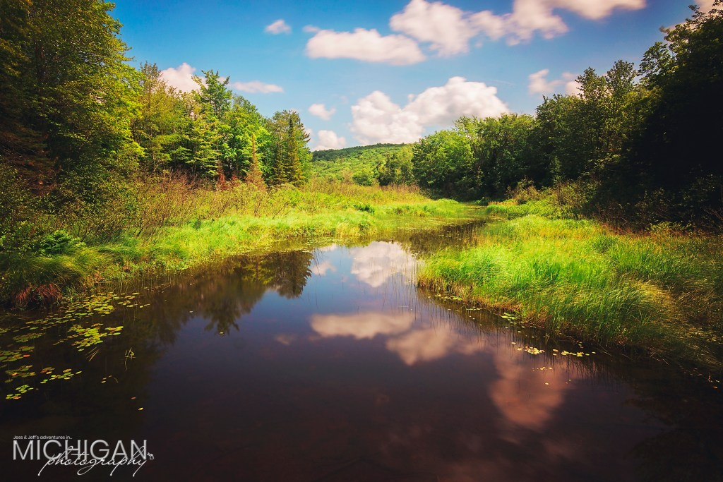 The Little Carp River heading into the Lake of the Clouds in the Porcupine Mountains State Park