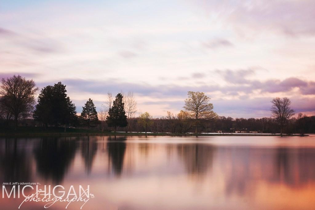 A long exposure shot of Silver Lake at Sunset