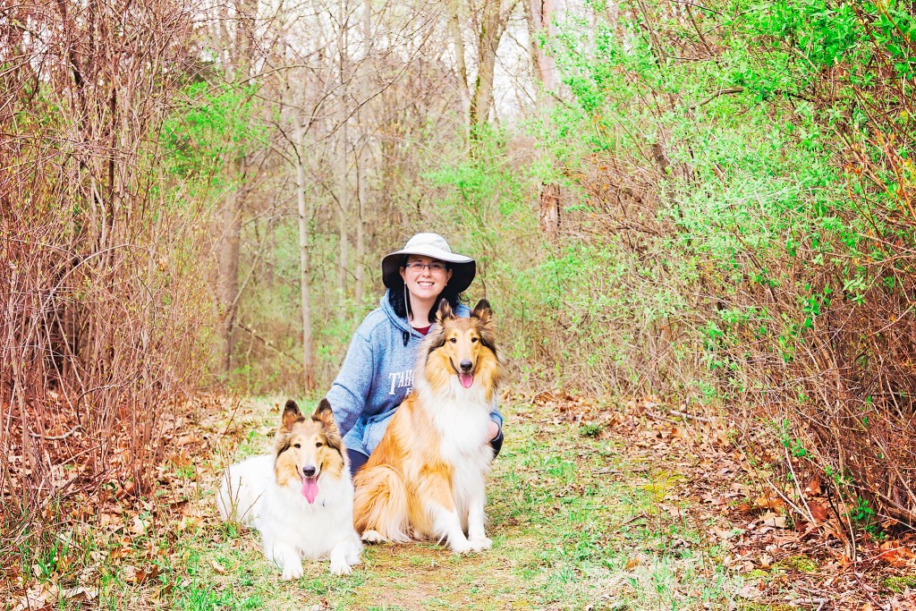 Jessica with our Collies Anoush & Duncan.