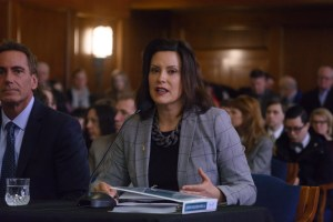 Gov. Gretchen Whitmer at the Fiscal Year 2020 budget presentation