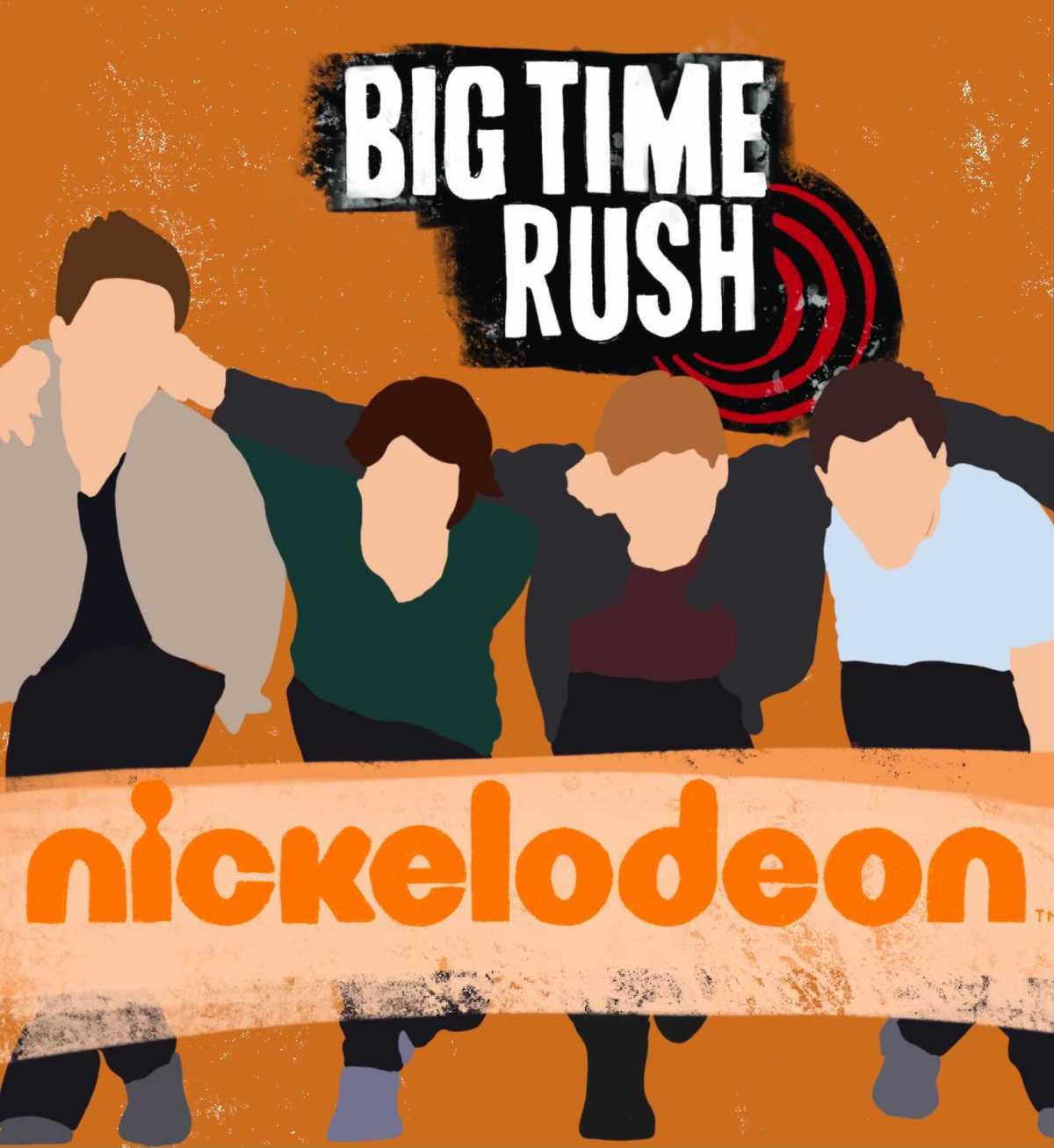 """Illustration of four men with arms around each other's shoulders standing behind the banner that reads """"Nickelodeon"""""""