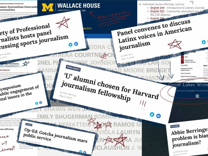 collage of journalism resources on campus