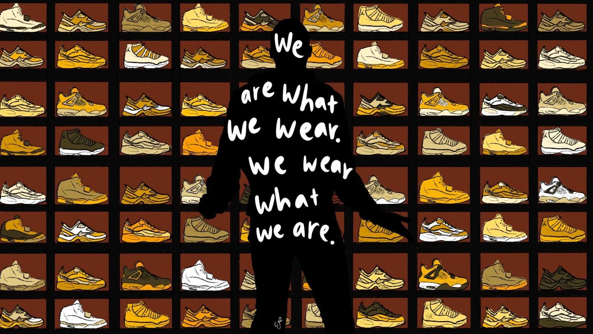 A figure of a man on top of a background of sneakers