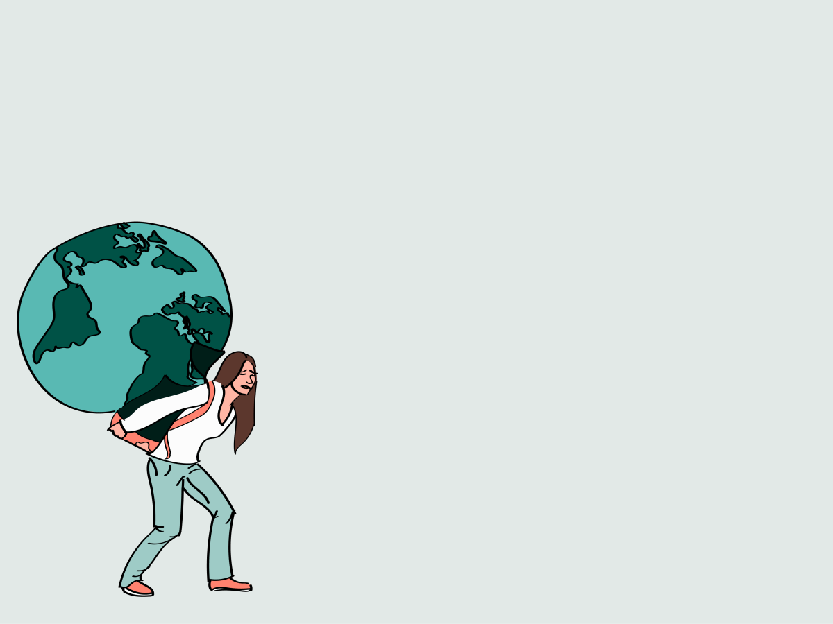 A college-aged woman carrying an Earth on her back.