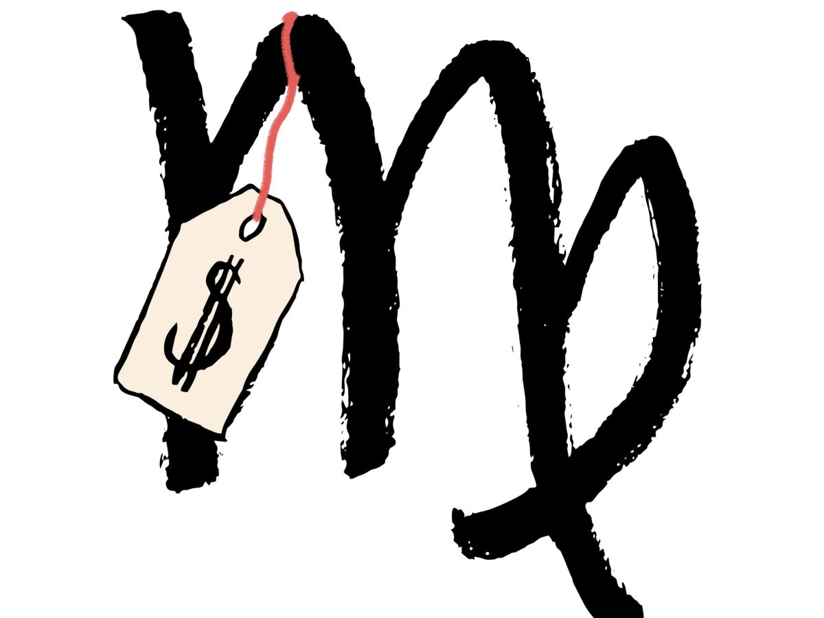 A Virgo zodiac sign with a price tag attached to it.