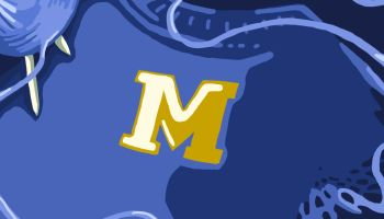 "A Michigan ""M"" knit with yarn."