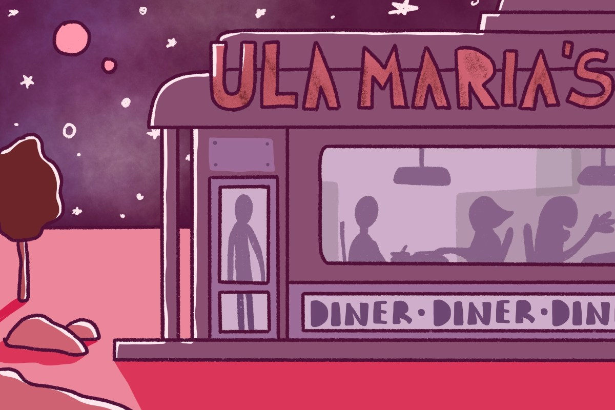 """A scenic view of an intergalactic diner known as """"Ula Maria's"""" floating in space."""