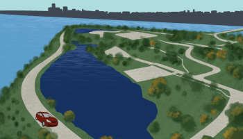 A car driving passed Belle Isle.
