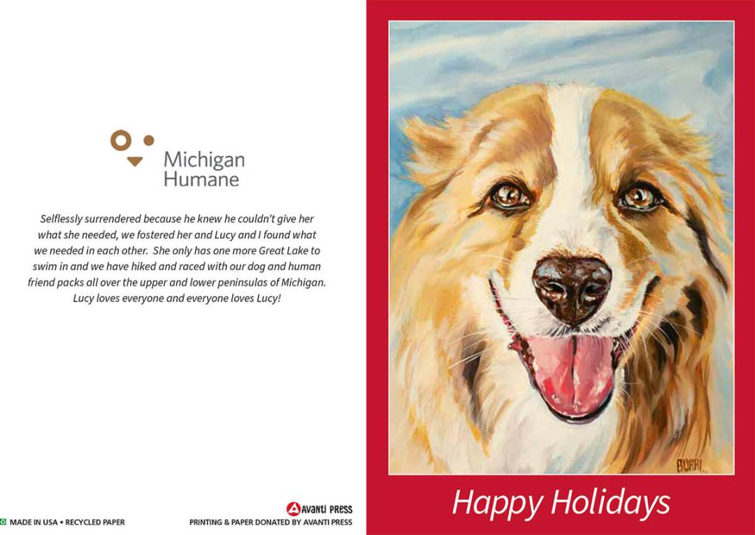 Michigan Humane 2020 Holiday Card Lucy