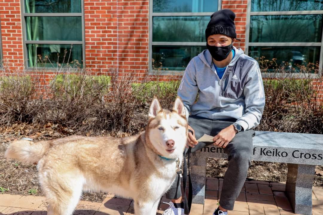 Man with dog.