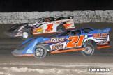 Greg Gokey (#1) racing with Rich Bell Friday at Winston Speedway (John Berglund Photo)