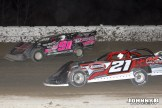 Rusty Shlenk (#91) racing with Tom Sprague, Jr. (#21) Friday at Winston Speedway. (John Berglund Photo)