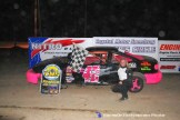 Shelbie Shank won the Flinn Stock feature Saturday April 18th, 2015 at Crystal Motor Speedway. (Big V / RacesOnTheWeb.com Photo)