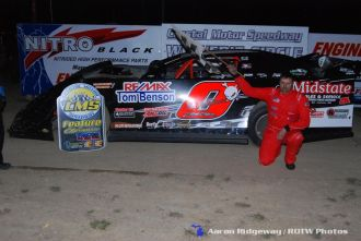 Zach Olger won the Late Model feature on Saturday April 26, 2015 at Crystal Motor Speedway. (Aaron Ridgeway / Races on the Web.com Photo)
