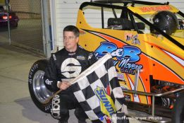 Jimmy McCune in victory lane following his victory Friday night at Spartan Speedway. (Bob Buffenbarger Photo)