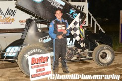 Ryan Ruhl won the sprint car feature Saturday June 6, 2015 at Butler Speedway. (TW Photographics)