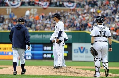 Detroit manager Jim Leyland and catcher Alex Avila walk toward starting pitcher Anibal Sanchez in the fifth inning. Sanchez gave up three home runs as the Oakland A's defeated the Tigers 6-3