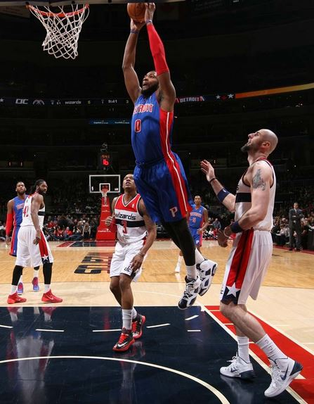 Andre Drummond and the Pistons have won three of four games heading into Monday's contest against the Los Angeles Clippers (Photo courtesy of Allen Einstein/Detroit Pistons)