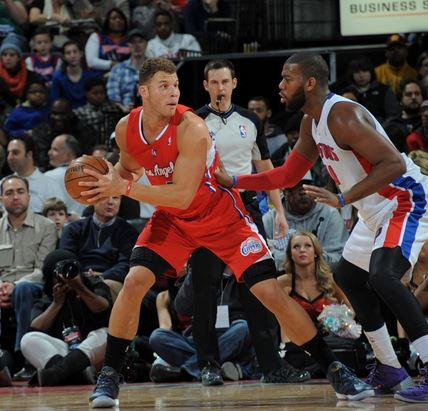 Blake Griffin and the Clippers outscored Greg Monroe and the Pistons in a 112-103 shootout Monday at the Palace of Auburn Hills (Photo Courtesy of Allen Einstein/Detroit Pistons)