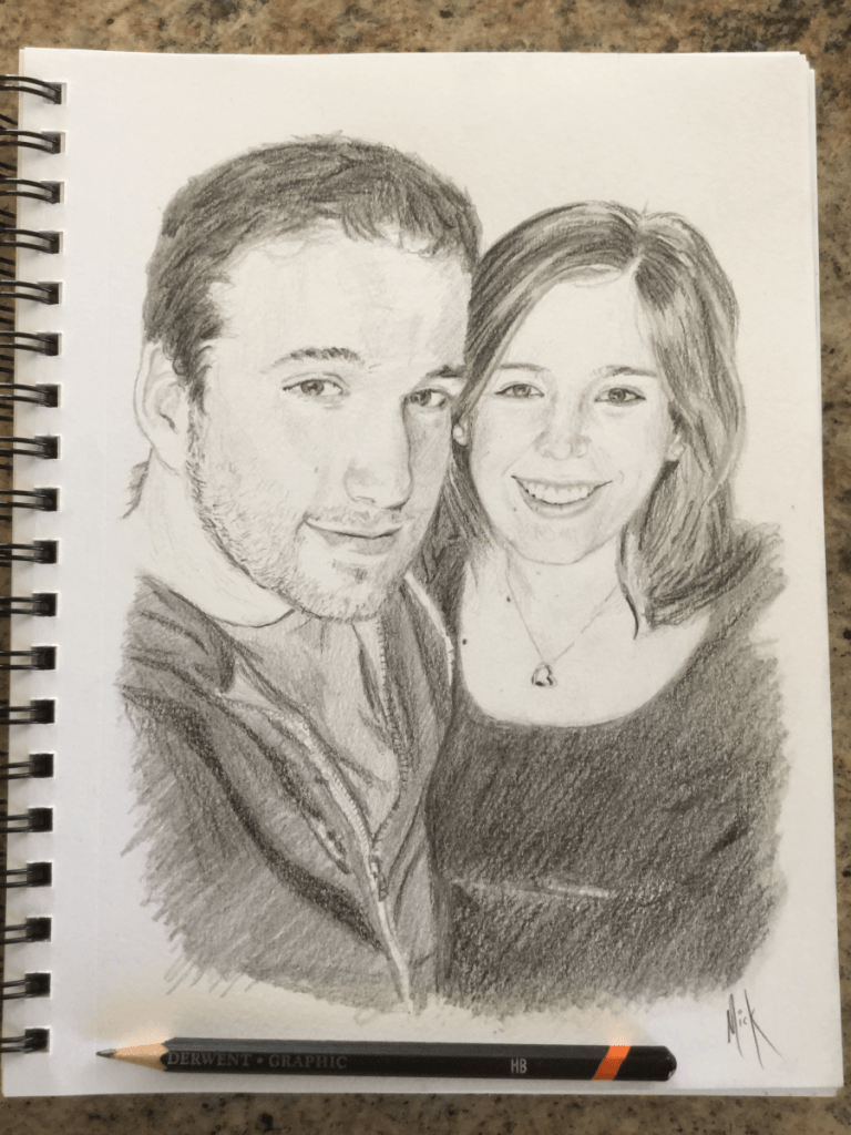 A pencil portrait sketch of Steve and Michelle