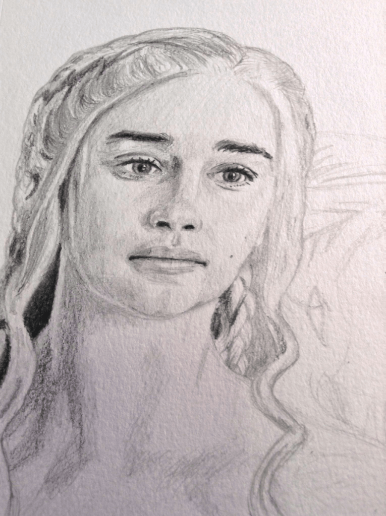 A pencil portrait sketch of Queen Daenerys Targaryen from Game of Thrones, as portrayed by Emilia Clarke