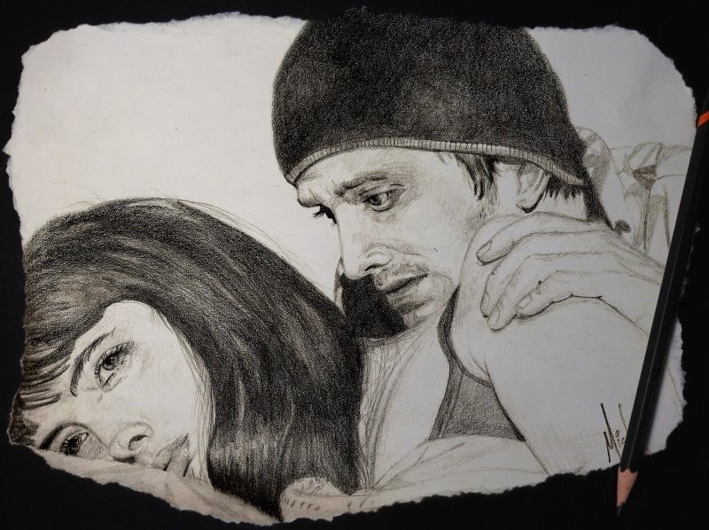 A pencil portrait sketch of Jesse Pinkman and Jane Margolis from Breaking Bad, as portrayed by Aaron Paul and Krysten Ritter