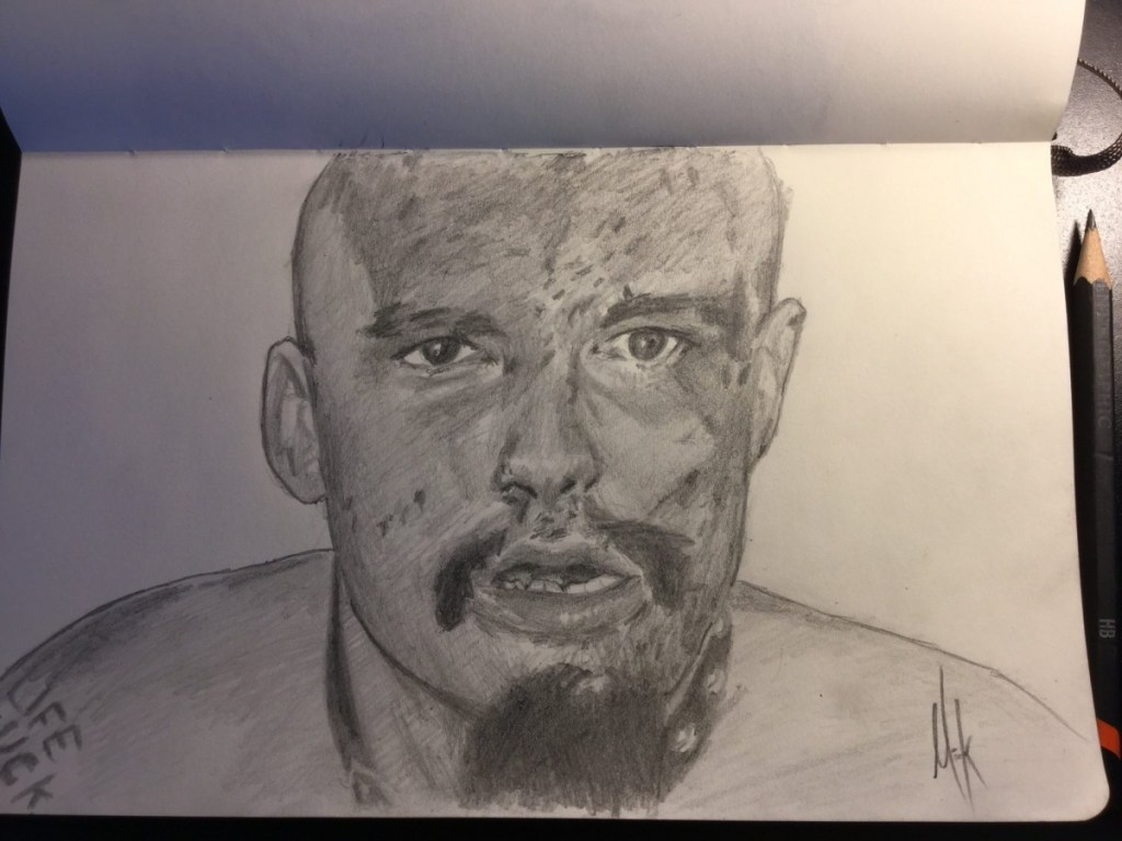 A pencil sketch portrait of GG Allin