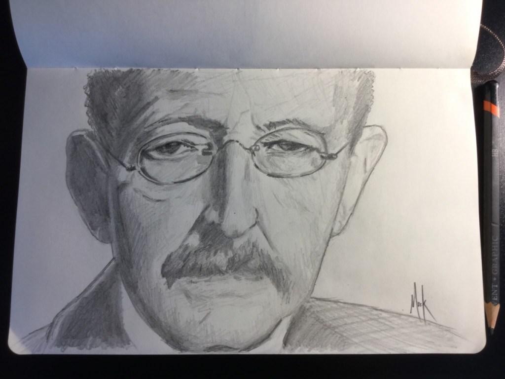 A pencil portrait sketch of Max Karl Ernst Ludwig Planck