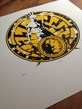 Ares god of war a screenprint by artist Michael Statham