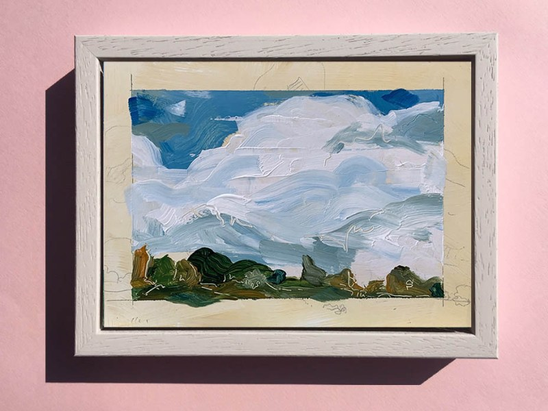 A framed acrylic landscape sketch by artist Michael Statham