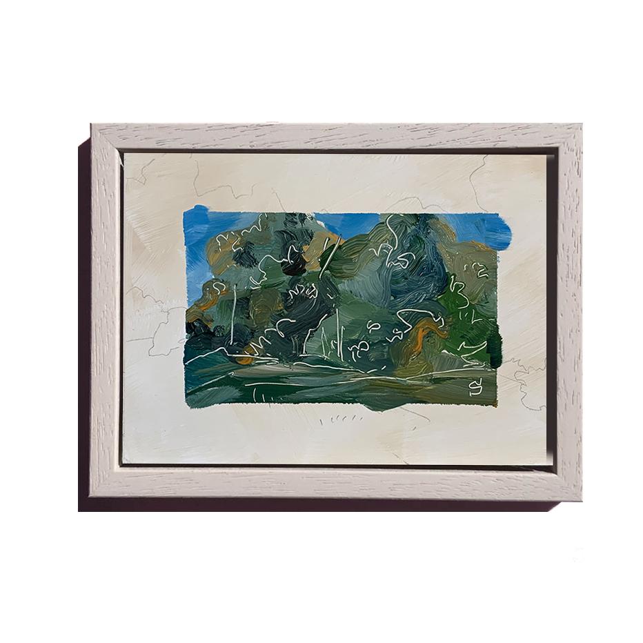 A framed acrylic landscape sketch by artist Michael Statham