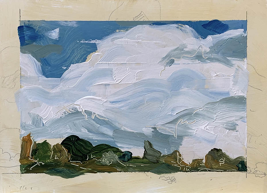 landscape sketch in acrylic by artist Michael Statham
