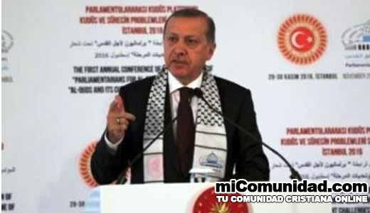 Presidente turco amenaza a Israel e insta musulmanes luchar por Palestina