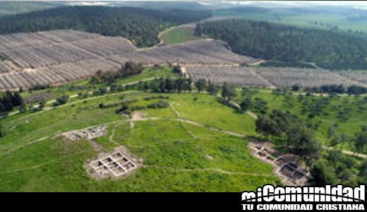 Vista aérea de Khirbet_a-Ra'i Foto de Emil Ajem, Autoridad de Antigüedades de Israel.