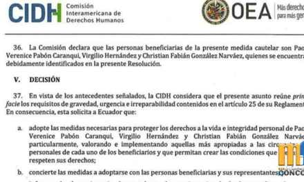 CIDH concede medidas cautelares a Paola Pabón, Virgilio Hernández y Christian González