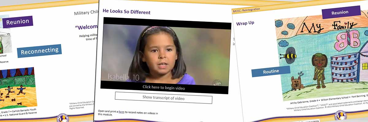 "A snapshot of an elearning course from MCEC's ""Welcome Home"" training. This image of MCEC's blended learning solution shows the course title page with children's drawings and a slide with a video featuring a young girl."