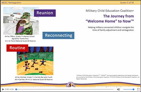"Image links to course demo page. Course title screen for ""The Journey form Welcome Home to Now."" Design features two children's drawings of military life, with the words, ""Reunion,"" ""Reconnecting,"" and ""Routine"" in colored text boxes."