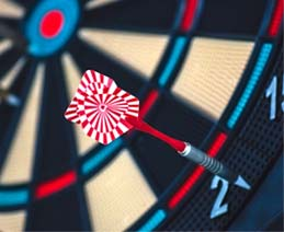 Dart on dart board, but significantly off target