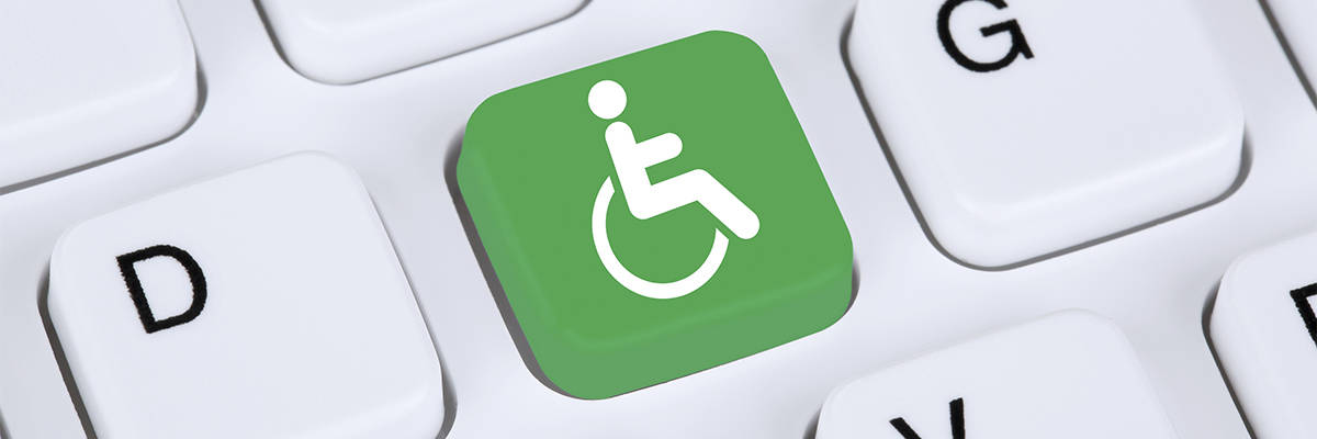The universal symbol of access, also known as the wheelchair symbol, has been recognized for physical accommodations for nearly a quarter of a century. Here, the symbol is pictured as a laptop computer key. Accessibility litigation for electronic environments, including websites, is on the rise as online environments are increasingly viewed as public accommodations.