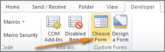 "arrow pointing to the ""Choose Form"" buttom"