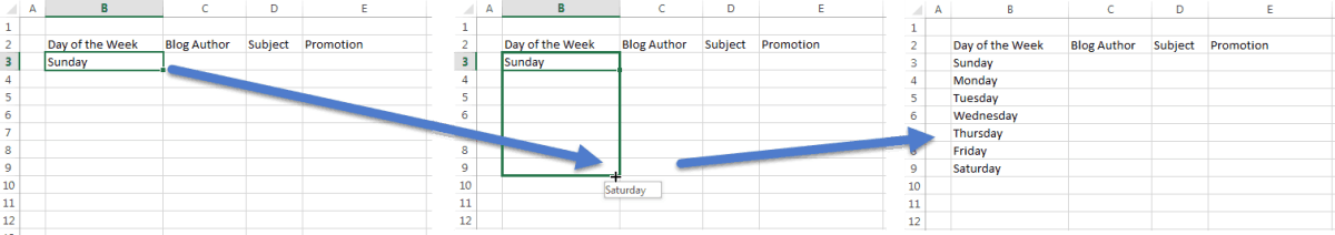 Three screen grabs show steps for using AutoFill to add days of the week as described in the paragraph above.