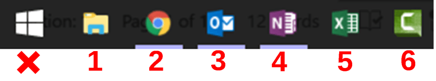 Six application icons are in the Windows taskbar, with numbers marking their order from the Start icon: Folders (1), Chrome (2), Outlook (3), OneNote (4), Excel (5), Captivate (6). Combining the Windows key + the order number allows you to open that applications