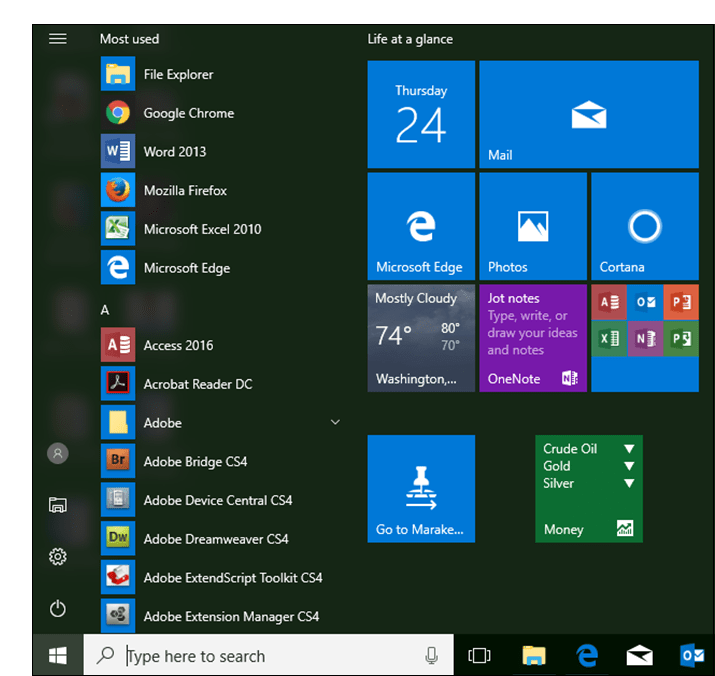 Screenshot showing a custom Windows 10 start menu