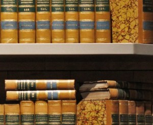 volumes of books in a legal library