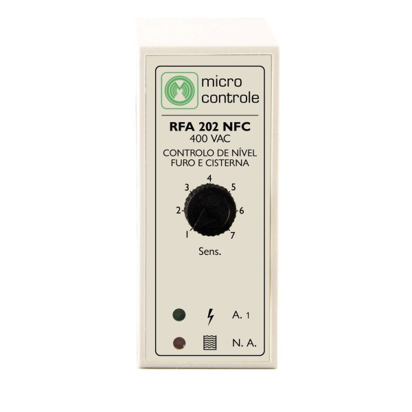 Relé de control de esvaziamiento de furo o pozo con la protección de electrobombas para furo o depósito - RFA 202 NFC - Vista Fronta