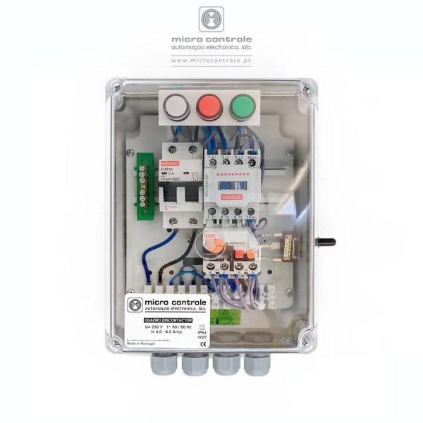 Quadro Discontactor para controlo e proteção de eletrobombas utilizadas no abastecimento de água sob pressão. Contactor, relé térmico e disjuntor marca identificada. | micro controle - automação electrónica, lda.