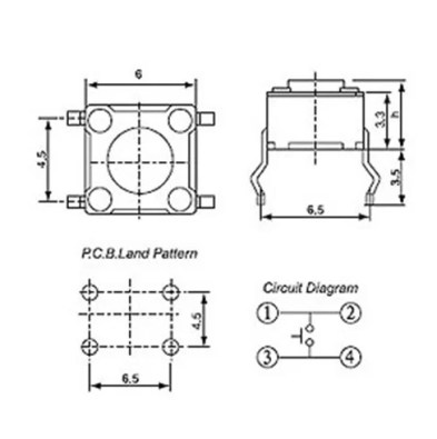 6x6x5mm-es Mikrokapcsoló