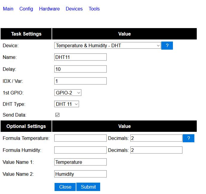 ESP-01S és DHT11 ThingSpeak - ESP Easy DHT11 Options
